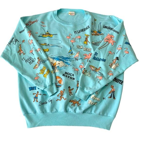 Vtg 80s Florida Crewneck Sweatshirt Aqua AOP Large